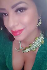 Alligator Crocodile reptile Necklace Green AB Crystal Necklace  Earrings set