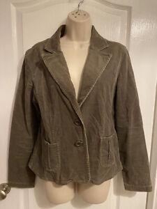 FOXHOLE Khaki fine cord fitted blazer jacket - Size 14