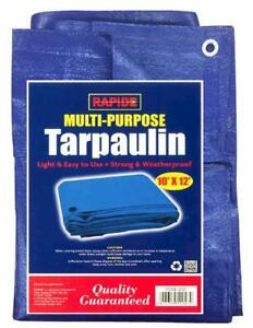 10ft x 12ft Multi-Purpose Blue Tarpaulin Cover Shelter Camping Ground Sheet