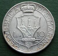 1932 Italy San Marino Coin 10 Lire Silver (.835) KM# 10 Rare