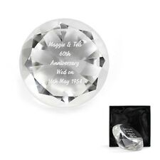 PERSONALISED Engraved Diamond 60th Wedding Anniversary Cut Glass Gift Present