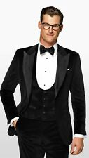 Men Black Velvet Suits Designer Wedding Party Wear Dinner Suit (Coat+Vest+Pants)