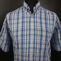 Lacoste Mens Vintage Shirt 43 (XL) Short Sleeve Blue Regular Fit Check Cotton