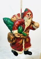 Vintage Old World Resin Santa Claus Ornament Figure Christmas Decoration 3.5""
