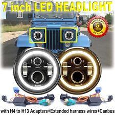 7 Inch Round CREE LED Headlights Halo Angle Eyes For Jeep CJ Series CJ5 CJ6 CJ7