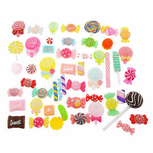 20pcs Mixed Candy Sweets DIY Resin Flat Back Buttons Scrapbooking Slime Charms