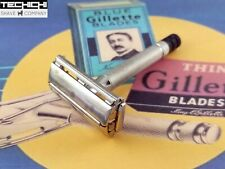 1951 W2 Gillette Black Tip Super Speed Vintage Double Edge Safety Razor