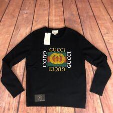 "Gucci Vintage Logo Sweatshirt Black - Large 22"" Pit To Pit - £770"