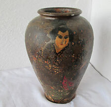 """12+"""" tall antique japanese pottery ceramic hand painted vase"""