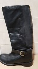 REDFOOT Black Leather Womens Elastic Calf Boots Zip Winter Riding Style UK 5 38