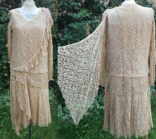 True Vintage 1920s 20s Art Deco Broaches Wheat Lace Drop Waist Dress 36B 34W S M
