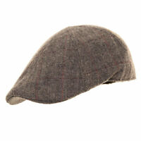Stylish Tweed Check Flat Cap Pre Formed Peak Grey Brown Wool Mix S M L XL NEW