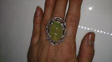 925er Silber Ring Gr.19 mit Green Prehnit