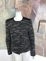 Ann Taylor Womens Black White Wool Blend Leather Shoulders Blazer Jacket Size 10