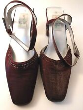 """Womens Shoes Burgundy Satin Beaded Pump Ankle Strap 3"""" Heel Size 9M Wild Rose"""