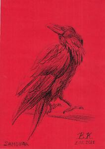 original drawing A4 59PK art samovar oil pastel etude animal raven Signed 2021