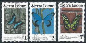 Sierra Leone 1987 - 1991 Butterflies x 3 Very Good Used Stamps