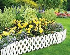 4-12 PACK WOODEN EFFECT LAWN GARDEN PATIO EDGING WHITE BORDER PLASTIC FENCING