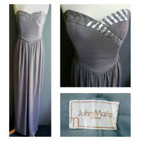 JOHN MARKS London vintage maxi grey silver strapless evening dress 70s UK 8 10