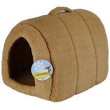 ME & MY PETS SOFT BROWN FLEECE CAT/KITTEN/DOG/PUPPY IGLOO PET BED WARM HOUSE/POD