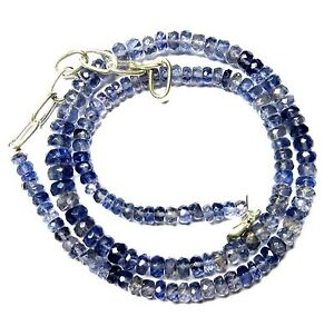 Natural Iolite Gemstone Rondelle Faceted Beads NECKLACE 4 to 7 MM 103-Cts - S10
