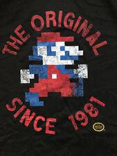 Super Mario Bros Nintendo Jumpman. Large. Rétro Officiel T Shirt Noir.