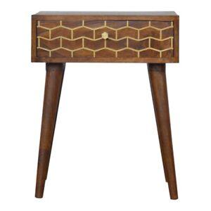 Mid Century Bedside Table Solid Dark Mango Wood Gold Pattern Handmade Furniture