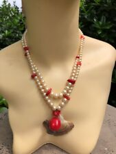 "KENNETH JAY LANE FAUX PEARL & RED CORAL 32"" SHELL NECKLACE"