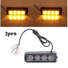 2X Amber/Yellow 4 LED 4W Strobe Emergency Flash Warning Light Grille Hazard Lamp