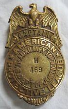 Obsolete American Protective League Captain Badge Eagle Original Old Vtg Antique