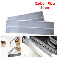 4X 3D Silver Carbon Fiber Car Door Sticker Plate Sill Scuff Cover Anti Scratch Y