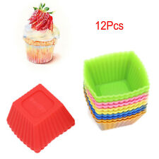 12 Pcs/Pack Food Grade Silicone Mini Square Reusable Cupcake Muffin Cup Kitchen