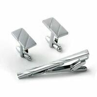 3Pcs Mens Metal Necktie Tie Bar Clasp Clip Cufflinks Set Simp D2M7 Useful S B3L0