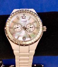 GUESS WHITE MULTI DIAL QUARTZ WATCH   - RHINESTONE     G1355SL