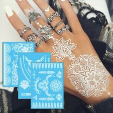 White Natural Henna Tattoos Temporary Arm Hand Stickers Flower DIY Kit Body Art