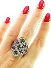 NEW! Turkish Grand Bazaar Jewelry 925 Silver Handmade Emerald Ruby Ring R2502