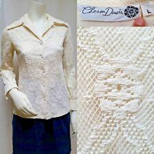 Vintage CHESSA DAVIS CROCHET LACE POINTED COLLAR L/S SHIRT - Size M