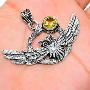 "Citrine Gemstone Handmade Ethnic 925 Sterling Silver Jewelry Pendant 1.42"" K637"