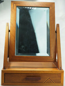 Craft made 10 X 15 inlaid wood  Free Standing Dressing Table Mirror with drawer