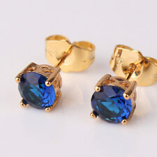 Gracefully sapphire earring 24k yellow gold filed elegant party STUD earring