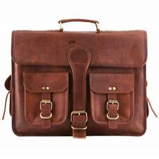 Genuine Vintage Leather Messenger Real Brown Laptop Satchel Briefcase Bag