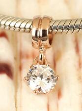 SOLID 9K ROSE GOLD Big Cubic Zirconia CZ gem Dangle Charm Drop Bead For Bracelet