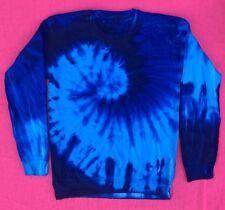 New Tie Dye Tye Die Navy Blue Swirl Long Sleeve Crewneck Sweatshirt Medium M