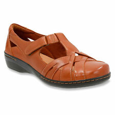 NEW WOMENS CLARKS TAN LEATHER FLAT MARY JANE STRAP SHOES EVIANNA DOYLE