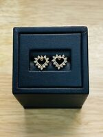 14K Yellow Gold Diamond Open Heart Stud Earrings, Free Shipping