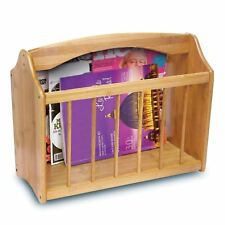 Wooden Bamboo Magazine Newspaper Mail Rack Floor Standing Storage Holder Shelf