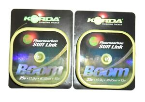 Korda Boom Flurocarbon Stiff Link - Available in 25lb and 35lb