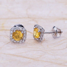 1.50ctw Round Cut Yellow Sapphire Halo Earrings in 14K White Gold