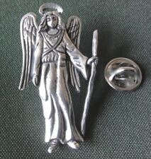 Angel Pewter Pin, Archangel Raphael, hand made, with 1 press on pin back