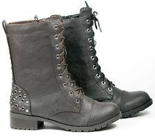 Faux Leather Studded Military Lace Up Mid Calf Combat Boot Soda Black Brown